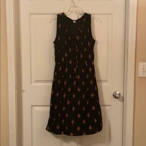 Printed Black Midi Dress